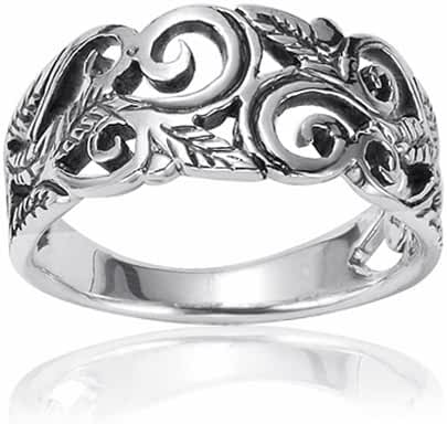 925 Oxidized Sterling Silver 8mm Filigree Leaves Swirl Vine Wreath Ring