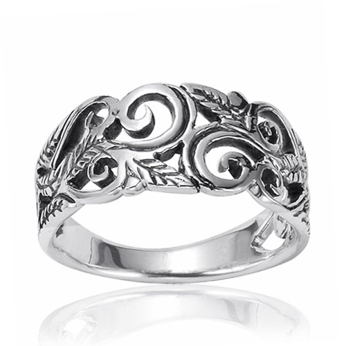 925 Oxidized Sterling Silver 8mm Filigree Leaves Swirl Vine Wreath Ring, Size 6