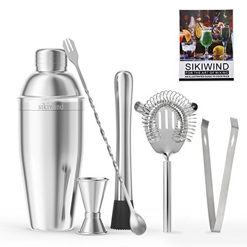 Cocktail Shaker Set 7 Piece Stainless Steel SIKIWIND Bar Set Accessories - Bartenders 25 Oz Martini Shaker With Measuring Jigger, Mixing Spoon,Drink Muddle,Strainers and Ice Tongs + Drink Recipe (Electric Martini Shaker)