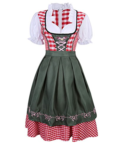 Imixcity Women's German Mini Dirndl Oktoberfest Fancy Dress Ladies Costume Red L (Cheap Fancy Dress Outfits)