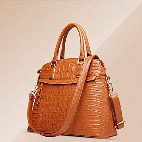 Imitation Ladies 2018 Leather American Marrón Handbag Handbags European Bag Hlh Shell Crocodile And xUnYAzwnqC
