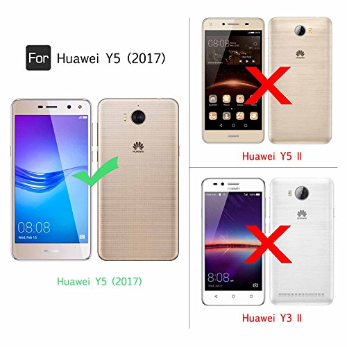Fundas Huawei Y6 2017/ Huawei Y5 2017/ Huawei Y5 III / Huawei Nova Young / Huawei Y5 II 2017 (Not for Huawei Y5 II) Purpurina Choque Absorción Carcasa con HD Protectores de Pantalla, LeYi Mujer Brilla ZX Huawei Y6 2017 TSBlue