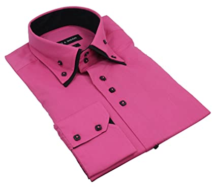 Mens Pink Black Italian Shirt Double Button Collar Cotton: Amazon ...