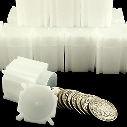 3 *BUY HERE/> WHITE PLASTIC//GREEN LIDS-AM SILVER EAGLE COIN TUBE//HOLDERS+EXTRAS