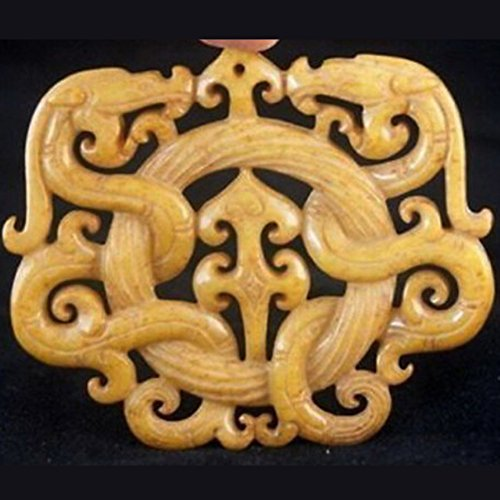 EASTCODE Chinese Old Handwork Old Yellow Jade Carved Dragon Pendant
