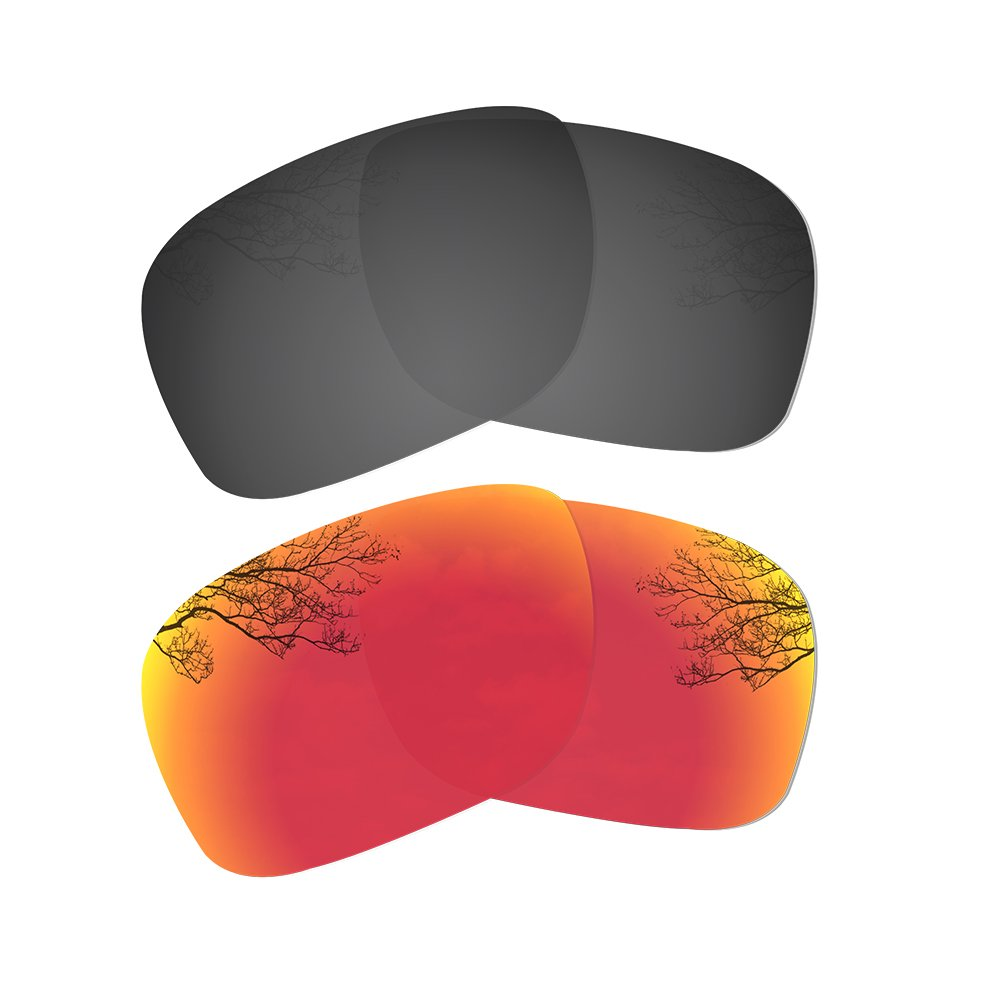 Dynamix Polarized Replacement Lenses for Oakley Holbrook - Multiple Options (Solid Black + Fire Red, Polarized Enhanced) by Dynamix