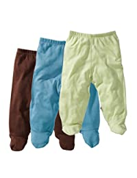 Babysoy Essential 3-Piece Footie Pant Set for Boys, Ocean, Chocolate, Tea, 3-6 months, 1-Pack