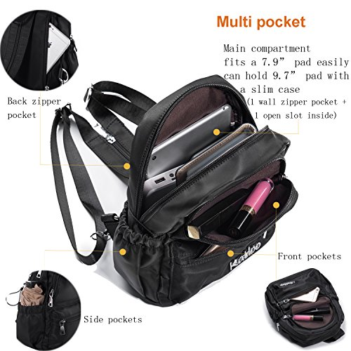 Girls for Katloo Pack Nylon Day Mini Resistant Black Small Water Women Backpack Purse xqUnEAI