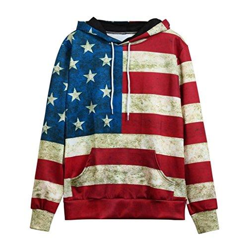 Women Men Blouse,IEason Fashion American Flag Print Pockets Slim Pullover Hoodie Sweatshirt (S, Red) -