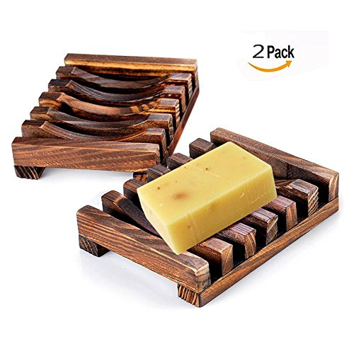 2Pcs Wooden Soap Holder Used In Bathroom Soap Storage Shelf Handmade Soap Saver Holder Size: 11.5 * 8 * 2.2cm / 4.3in x 3.1in x 0.9in Txyk