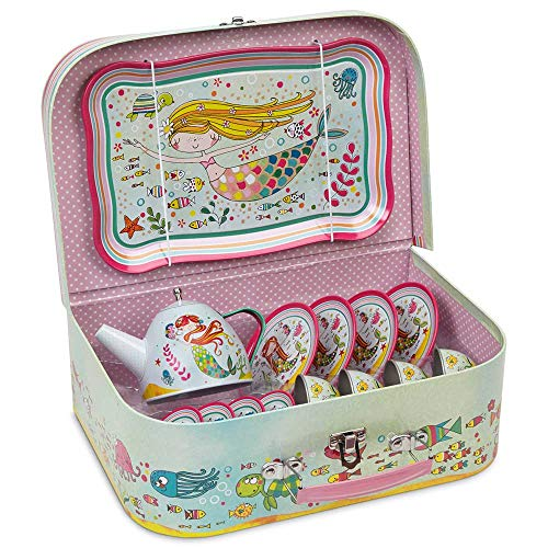 JewelKeeper 15 Piece Children's Pretend Toy Tin Tea Set & Carry Case - Mermaid Design
