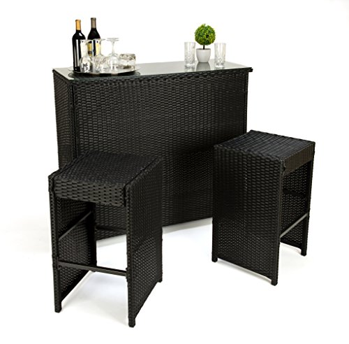 Trademark Innovations 3-Piece Rattan Dining Table & Bar Stool Set (Black) For Sale