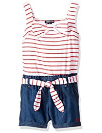 Limited Too girls Striped Knit Romper With Denim Short Bottom