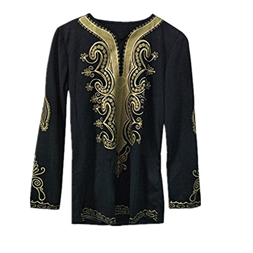 VESNIBA Mens African Dashiki Graphic Shirts Traditional Printed Summer Long Sleeve Top Blouse T Shirts Hip Hop (China X-Large, Black) by VESNIBA