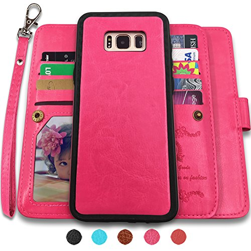 Galaxy S8 Plus Cases,Magnetic Detachable Lanyard Wallet Case with [8 Card Slots+1 Photo Window][Kickstand] for Galaxy S8 Plus-6.2 inch, CASEOWL 2 in 1 Premium Leather Removable TPU Case(Hot Pink)