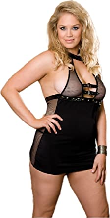 c1f24fe2c5 Amazon.com  Plus Size Sexy Black Babydoll Lingerie Set - Queen Size ...