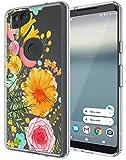 Google Pixel 2 Case, SWODERS Flower Clear Design Shock Absorbing TPU + Hard PC Bumper Case For Google Pixel 2 - Orange