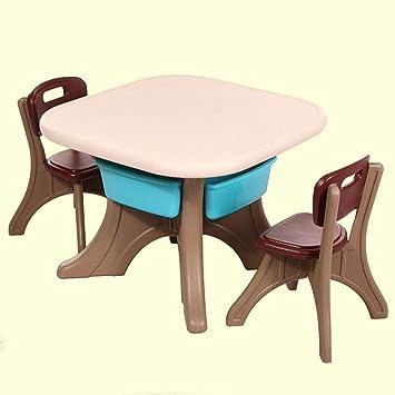 QKDSA Mesa de plástico para niños y 1 Asientos para niños con 1 ...
