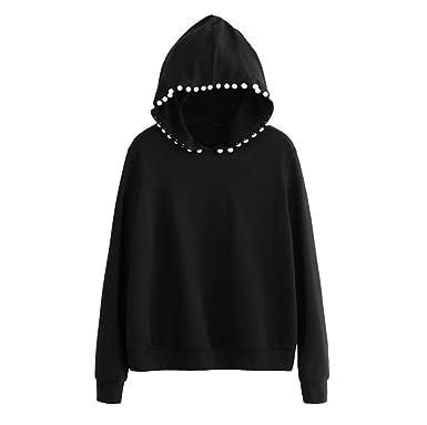 Overmal Women Long Sleeve Black Hoodies Blouses Bling Sweatshirt