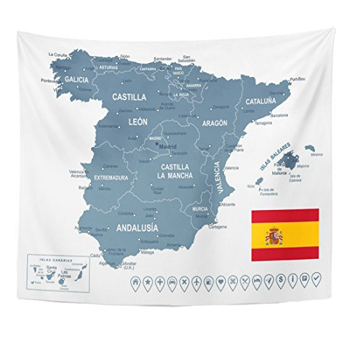 Breezat Tapestry Blue Catalonia of Spain Map Gray Aragon Home Decor Wall Hanging for Living Room Bedroom Dorm 50x60 Inches