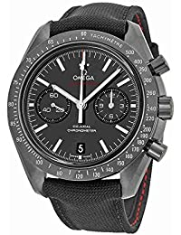 """Speedmaster Co-Axial Chronograph """"Dark Side of the Moon"""" Black Dial Black Fabric Mens Watch 31192445101003"""