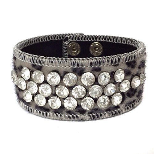 Gypsy Jewels Leopard Animal Print Faux Fur Wrap Snap Rhinestone Stud Bracelet (Black Grey Snow) ()