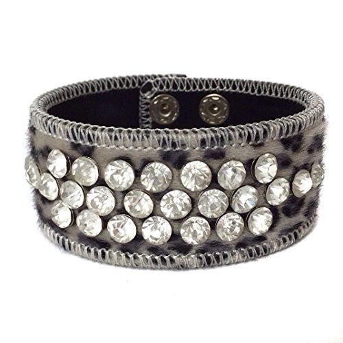 Slide White Earrings - Gypsy Jewels Leopard Animal Print Faux Fur Wrap Snap Rhinestone Stud Bracelet (Black Grey Snow)