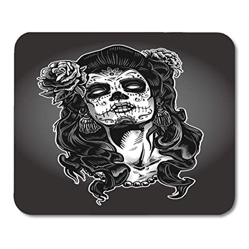Emvency Mouse Pads Gray Tattoo Woman Sugar Skull Face Paint Dead Day Zombie Halloween Mousepad 9.5