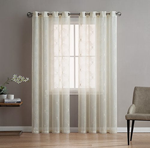 Melissa – Premium Quality Textured Semi-Sheer Embroidered Curtain By Linen Source – 100% Polyester Fabric – Linen Look & Fashionable Design – Variety Of Color Combinations (54″W x 84″L, Beige/Beige)