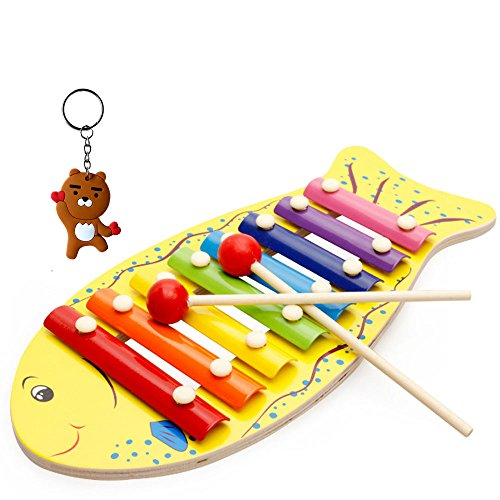 - Baby Xylophone Musical Toys, Musical instrument for babies toddlers infants, Perfect Kids Gift with 8 Metal Notes and 2 Wooden Mallets (Fish Base)