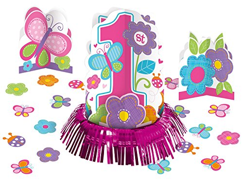 Amscan Sweet Birthday Girl 1st Birthday Table Decorating Kit, Large, Pink/White - Birthday Table Centerpieces