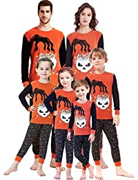 Matching Family Pajamas Halloween Costumes Glow in Dark 2 Piece PJs for Mom Dad Kids Pyjamas