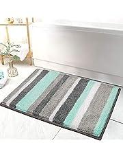 "HEBE Non Slip Bathroom Rug Mat Shag Microfiber Shower Bath Rug Absorbent Bath Mat for Bathroom,Machine Washable 18""x26"" Small"