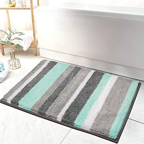 HEBE Non-Slip Bathroom Rug Mat Shag Microfiber Shower Bath Rug Absorbent Bath Mat for Bathroom Machine Washable 18″x26″