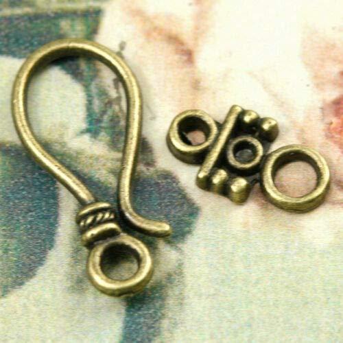 FidgetKute 30-60pcs Lots Antique Brass Hook & Eye Clasp for Other Jewelry Making 3 Style TS0297-4