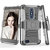 zte zmax swivel clip - TILL for ZTE Blade X Max Case, TILL [Knight Armor] ZTE Max XL Heavy Duty Full-body Rugged Holster Resilient Protective Case [Belt Swivel Clip][Kickstand] Combo Cover Shell For ZTE Zmax Pro/Z983 [Gray]