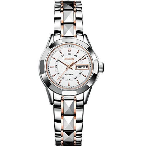JSDUN Women's Elegant Automatic Mechanical Thin Tungsten Steel Diamond Shape Bracelet Wrist Watches, Rose Gold/ Silver Band