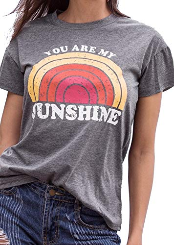 Women's You are My Sunshine Rainbow Graphic Letters Printed T-Shirts Crew Neck Short Sleeves Blouses Tops Casual Vest Tees (Grey, Small) for $<!--$9.98-->