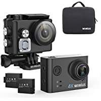 WIMIUS L2 Action Camera 4K WIFI HD 1080P Sports Cam, Waterproof Camera 2.0 Inch Camcorder Sony Sensor Include 2 Batteries/Carrying Bag/ 19 Accessories Kits (Black)