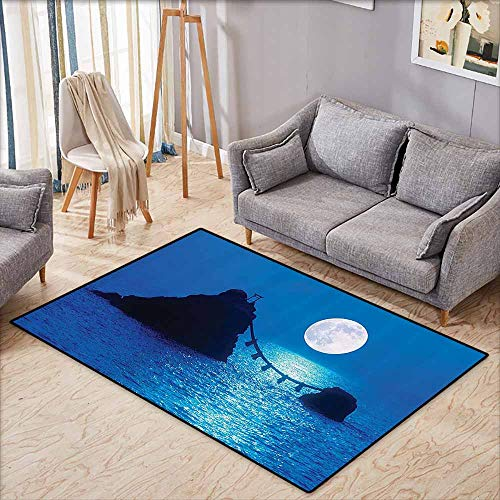 Children's Rug Ocean Decor Collection Full Moon Lights Up Sea and Two Rocky Islands Wedded by Shimenawa Rope at Meoto IWA Japan Print Navy Anti-Fading W4'9 xL3'9