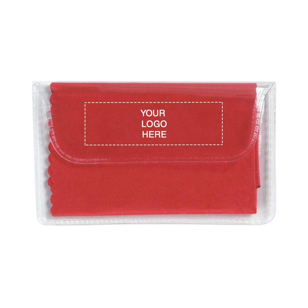 Microfiber Cleaning Cloth in Case | 250 Qty | 0.96 Each | Customization Product Imprinted & Personalized Bulk with Your Custom Logo Red by Promo Direct