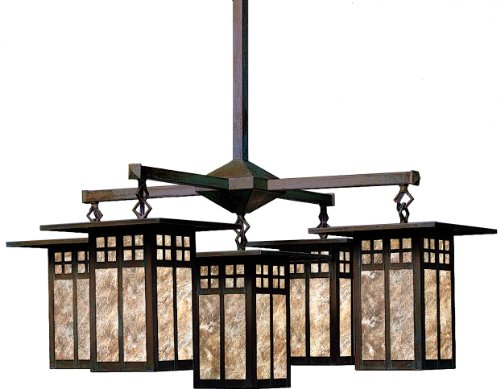 Arroyo Craftsman GCH-9/4/4AM-BZ Glasgow Collection 8-Light Chandelier, Bronze Finish with Almond Mica (Craftsman Collection Pendant)