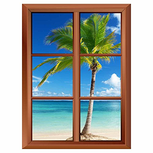 Removable Wall Sticker Wall Mural Caribbean Sea and Coconut Palm Creative Window View Vinyl Sticker