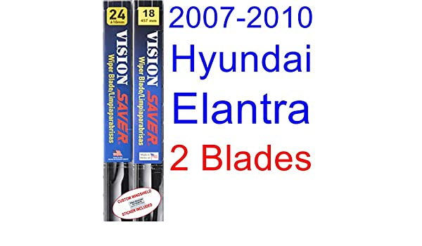 Amazon.com: 2007-2010 Hyundai Elantra Replacement Wiper Blade Set/Kit (Set of 2 Blades) (Saver Automotive Products-Vision Saver) (2008,2009): Automotive