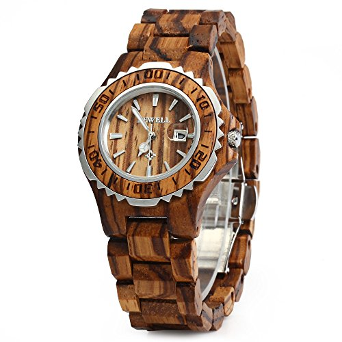 GearBest Women's Bewell ZS-100BL Analog Quartz Zebra wood Watch