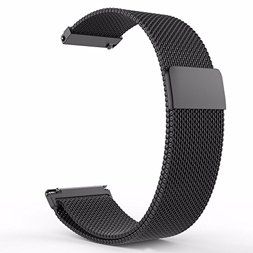 Quick Release Watch Band 20mm Milanese Loop Strap Magnetic Clasp Closure Lock Steel Replacement Bracelet Men Women 18mm 20mm 22mm Black