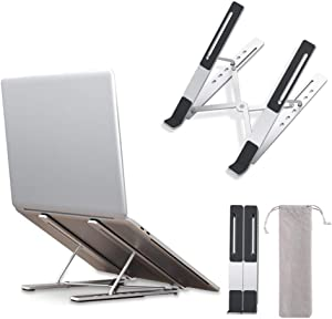 "LLANO Laptop Stand, Adjustable Ergonomic Aluminum Non-Slip Computer Riser for Desk, Suitable for 10-15.6""inch PC Notebook, MacBook Pro Air/Surface/Lenovo/Dell, Foldable Laptop Holder with Storage Bag"