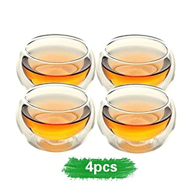 Home tea(TM) 50ml double layer glass teacup Handcraft Heat Resistant tea cup set of 4