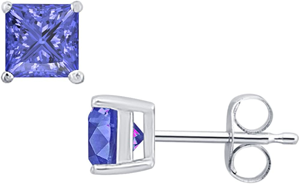 8MM Solitaire Fashion Stud Earrings 14K White Gold Over .925 Sterling Silver RUDRAFASHION 4.00 CT Princess Cut Tanzanite