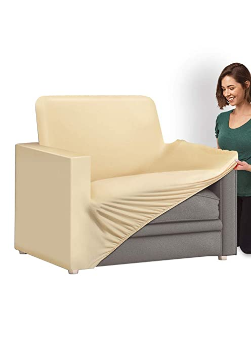 Pleasing Ideaworks Slip Couch Cover 1 Cushion Chair Beige Inzonedesignstudio Interior Chair Design Inzonedesignstudiocom